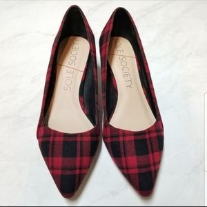 NWT Sole Society red tartan plaid kitten heels